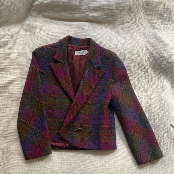 Christian Dior multicolored plaid wool blazer